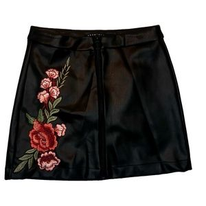 Boom Boom Jeans Rose Leather Skirt